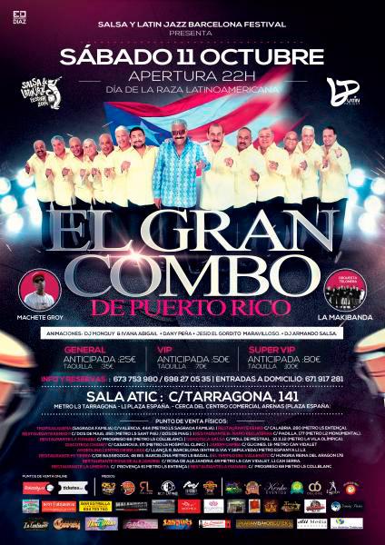 El Gran Combo de Puerto Rico en Sala Atic, más info...