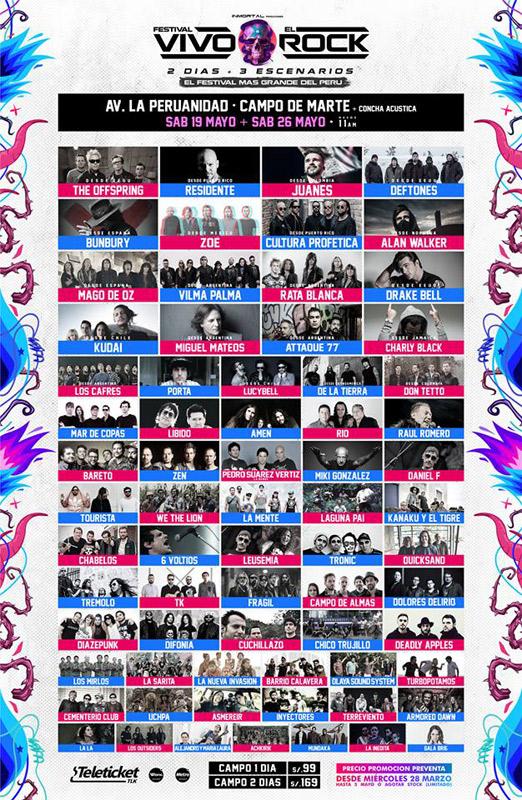 Enrique Bunbury (banda) en Festival Vivo x el Rock, más info...
